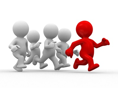 3d white humans running with a red human